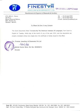 Finestar-Certificate